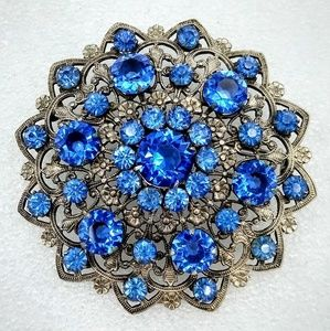 Vintage Blue Rhinestone Brooch, Intricate Metal